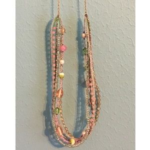 Handcrafted Beaded Necklace Pink Green Gold Long